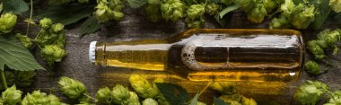 Top view of fresh beer in bottle with green hop on wooden background, panoramic shot stock vector