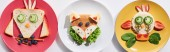 top view of plates with fancy cow, bird and fox made of food for childrens breakfast on white background, panoramic shot