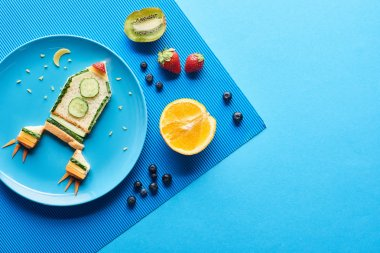 Top view of plates with fancy rocket made of food on blue background with fruits stock vector