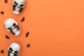 Photo top view of decorative skulls and spiders on orange background with copy space