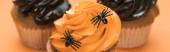 szelektív középpontjában ízletes Halloween cupcakes a pókok narancssárga háttér, panoráma lövés