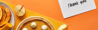 panoramic shot of delicious pumpkin pie with thank you card on orange background with apples