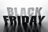 top view of black Friday lettering with shadow on white background