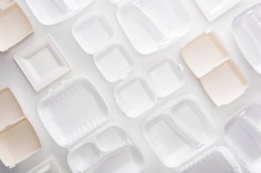 top view of empty eco packages on white background