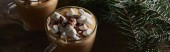 panoramic shot of cacao with marshmallow and cacao powder in mugs near pine branches on wooden table