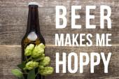 Draufsicht von frischem Bier in Flasche mit grünem Hopfen auf Holzoberfläche mit Bier macht mich moppig Illustration