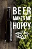 vrchní pohled na čerstvé pivo v láhvi se zeleným chmelem na dřevěném povrchu s pivem mě dělá chmelovou ilustrací