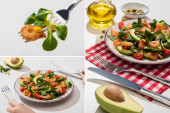 Photo collage of woman eating fresh green salad with shrimps and avocado on white background