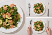 top view a nő eszik friss zöld saláta tök mag, garnélarák és avokádó fehér alapon, kollázs