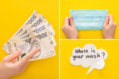 Ukrayna banknotları, tıbbi maske ve sarı arka planda konuşma baloncuğu olan kadın ellerinin üst görüntüsü