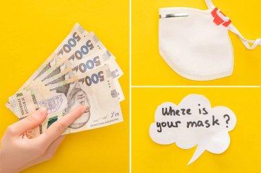Güvenlik maskesi yanında Ukrayna banknotları tutan kadının kısmi görüntüsü ve sarı arka planda konuşma balonu, kolaj