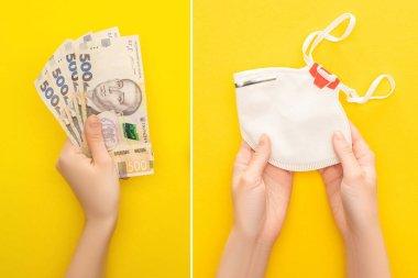 KYIV, UKRAINE - 25 Mart 2020: Sarı arka planda Ukrayna banknotları ve güvenlik maskesi tutan kadının kısmi görüntüsü, kolaj