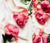 Photo top view of bouquet of pink peonies on white cloth, collage