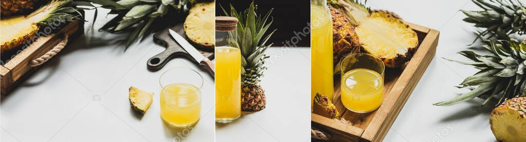Collage of fresh pineapple juice near cut delicious fruit on white background, panoramic orientation stock vector