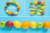 top view of ripe fruits and word vitamin on blue background, collage