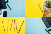 Collage of graphics tablet, watercolor drawing and paintbrushes on blue and yellow surface