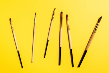 Top view of wooden paintbrushes on yellow surface stock vector