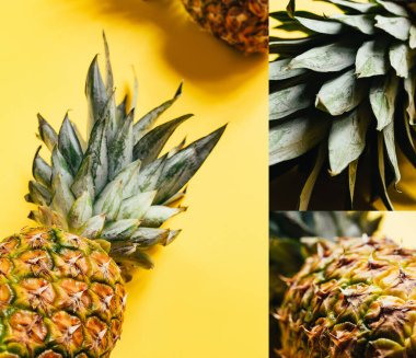 Collage of fresh ripe pineapples on yellow background stock vector