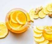 koláž horkého čaje u kořene zázvoru, citron na bílém pozadí