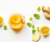 collage of hot tea near ginger root, lemon and mint on white background