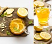 koláž horkého čaje u kořene zázvoru, citron a máta na dřevěné řezací desce na bílém pozadí