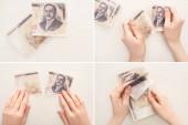 KYIV, UKRAJINA - 25. března 2020: koláž ženy držící, počítající a trhající japonské jenové bankovky izolované na bílém