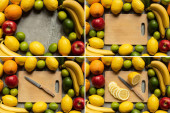 top view of tasty colorful fruits and wooden cutting board with lemon slices and knife on grey concrete surface, collage