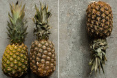 top view of ripe pineapples on grey concrete surface, collage