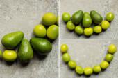 top view zöld avokádó, mész szürke beton felületen, kollázs