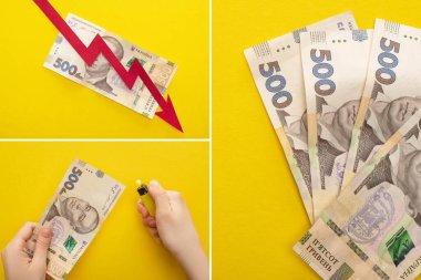 KYIV, UKRAINE - 25 Mart 2020: Ukrayna yakınlarındaki kriz grafiğinde izole edilmiş Ukrayna Hryvnia banknotları yanında çakmak tutan kadın kolajı