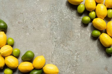 Top view of colorful avocado, limes and lemons on grey concrete surface stock vector