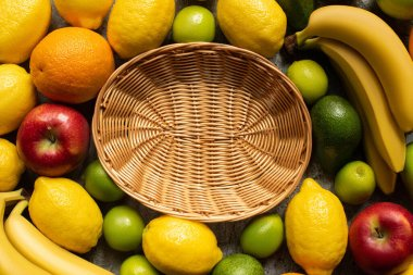 Top view of tasty colorful fruits around wicker basket stock vector