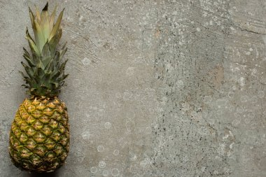 Top view of ripe pineapple on grey concrete surface with copy space stock vector