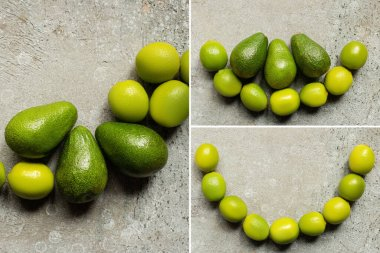 Top view of green avocado, limes on grey concrete surface, collage stock vector