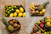 collage of ripe fresh fruits in wooden boxes and basket near word delivery on weathered surface