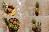 collage of female hands, ripe fresh fruits and word delivery on weathered surface