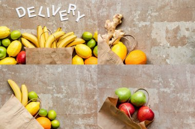 Top view of word delivery near paper bag with colorful fresh fruits on beige weathered surface, collage stock vector