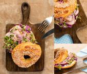 Collage aus frischem leckerem Bagel mit Fleisch, roten Zwiebeln, Frischkäse und Rosenkohl auf einem Holzschneidebrett