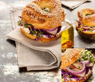 Collage of fresh delicious bagel with meat, red onion, cream cheese and sprouts on textured surface with napkin stock vector