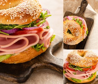 Collage of fresh delicious bagel with sausage and vegetables on wooden cutting board stock vector