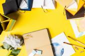 Fotografie Pinsel, Clips, Bilder, leeres Notizbuch, Blumen und bunte Palette auf gelb