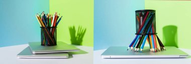 Collage of pencil holder with colored pencils on modern laptops on blue, green and white background, panoramic shot stock vector