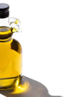 Olive oil in bottle on white background stock vector