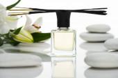selektivní zaměření vonných tyčinek a parfémů v blízkosti lázeňských kamenů a lilií izolovaných na bílém
