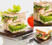 koláž čerstvě zelených lahodných sendvičů s masem na dřevěné řezací desce na mramorovém bílém povrchu