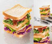 Collage aus frischen leckeren Sandwiches mit Fleisch in der Nähe von Besteck auf marmorweißer Oberfläche