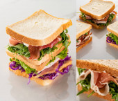 collage of fresh delicious sandwiches with meat on marble white surface