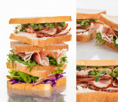 collage of fresh green sandwiches with meat on marble white surface