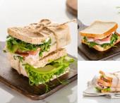friss zöld szendvicsek kollázsa hússal fából készült vágódeszkán márványfehér felületen