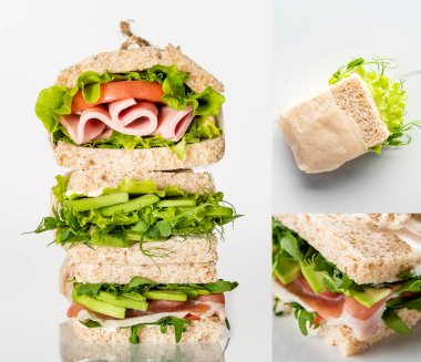 Collage of fresh green sandwiches with vegetables and meat on marble white surface stock vector